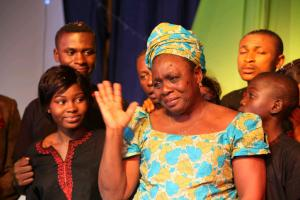 Mrs Elizabeth Opanchi, proprietor of Godswill Orphanage, thanking God and the Prince for the iniciative.