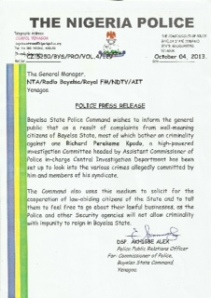 Bayelsa Police Coomand Press Release on nPDP leaders
