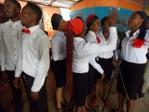 A cross section of the youths singing praises in celebration of the day