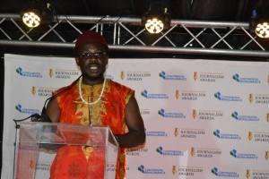 Odimegwu Onwumere making a speach at the awards ceremony